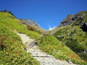 中ノ湯コース、頂上が見える