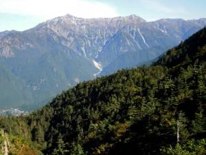 焼岳・展望台から見た笠ヶ岳