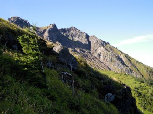 焼岳の北西斜面を望む