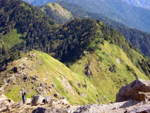 焼岳展望台、中尾峠、割谷山・西穂高へと続く稜線
