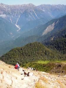 焼岳の登り(中尾峠側、北側斜面)