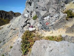 焼岳頂上、中ノ湯コースへの降り口